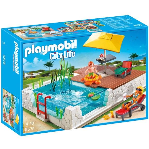 Piscine avec terrasse playmobil city life 5575 la for Piscine avec terrasse playmobil