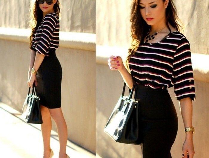 1001 id es pour une tenue vestimentaire au travail jupe noire taille haute et commercial. Black Bedroom Furniture Sets. Home Design Ideas