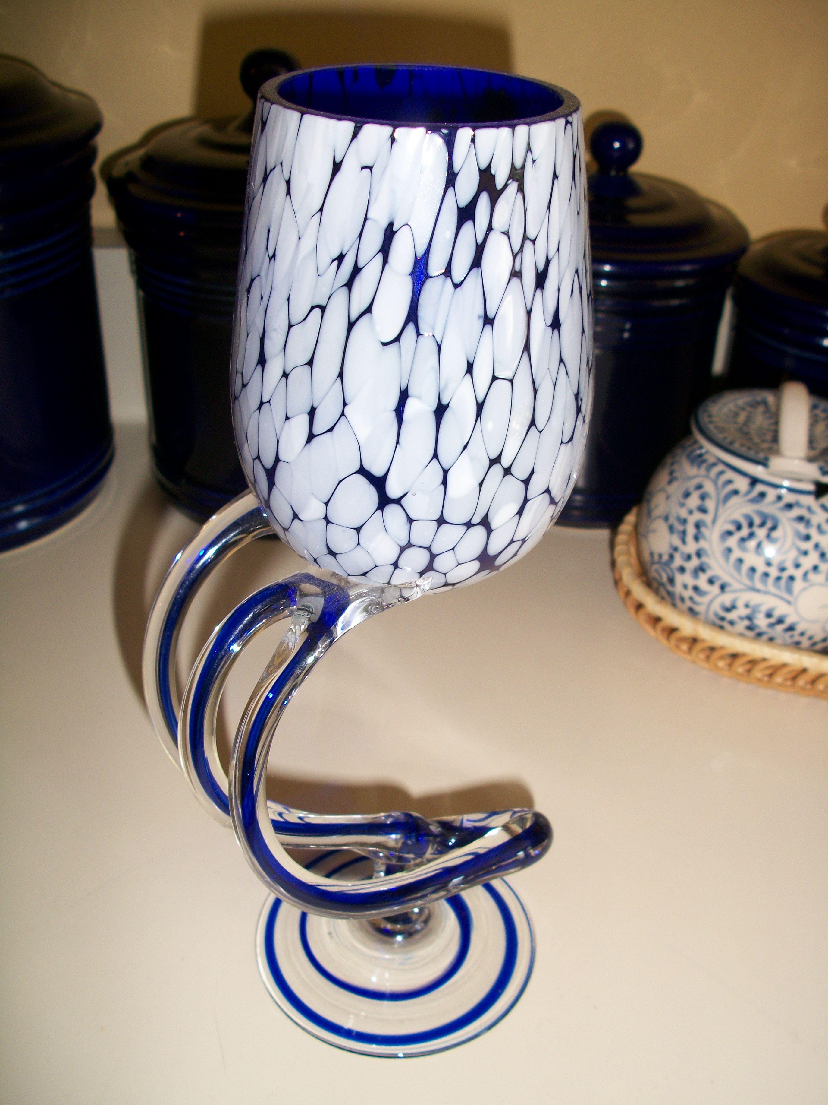 very unique cobalt wine glass
