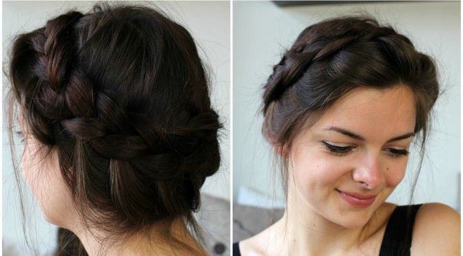 How To Make A Messy Crown Braid On Your Own Hair Loepsie Does So