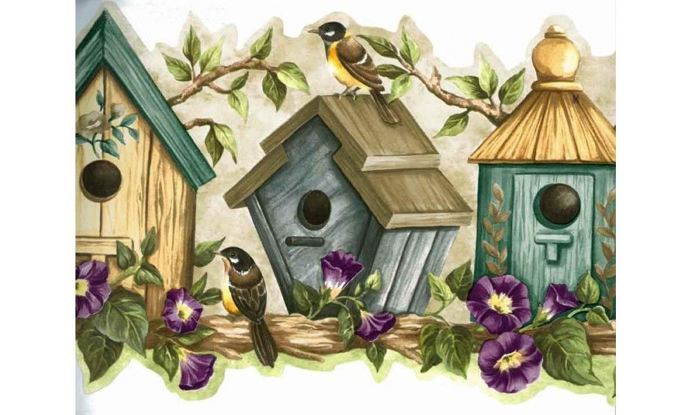 Blue Bird Houses HH90161 Wallpaper Border in 2020 Bird