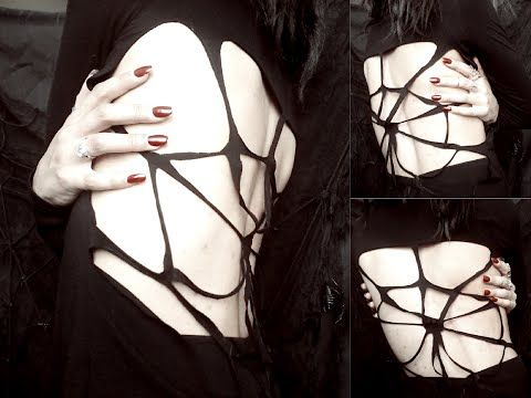 Goth DIY: Spiderweb Shirt | Morella Reborn - YouTube