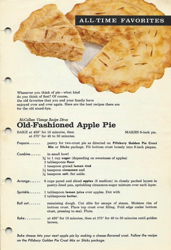 Old Fashioned Apple Pie 1961,The Vintage 1961 cook