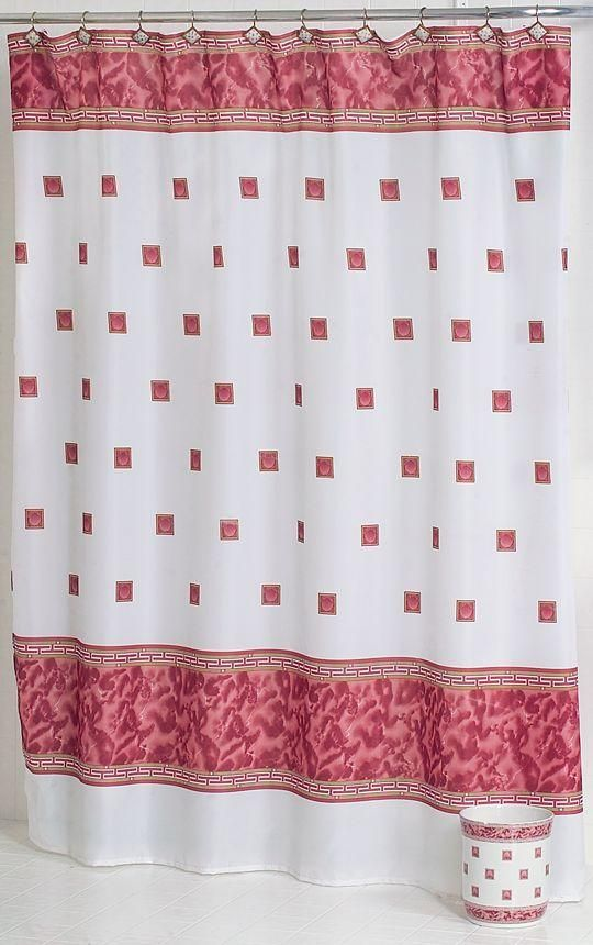 Photo of Windsor Fabric Shower Curtain – Burgundy
