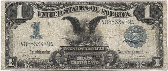 1 Dollar 1899 Adler Mit Flagge Silver Certificate Pragung Flaggen Geld