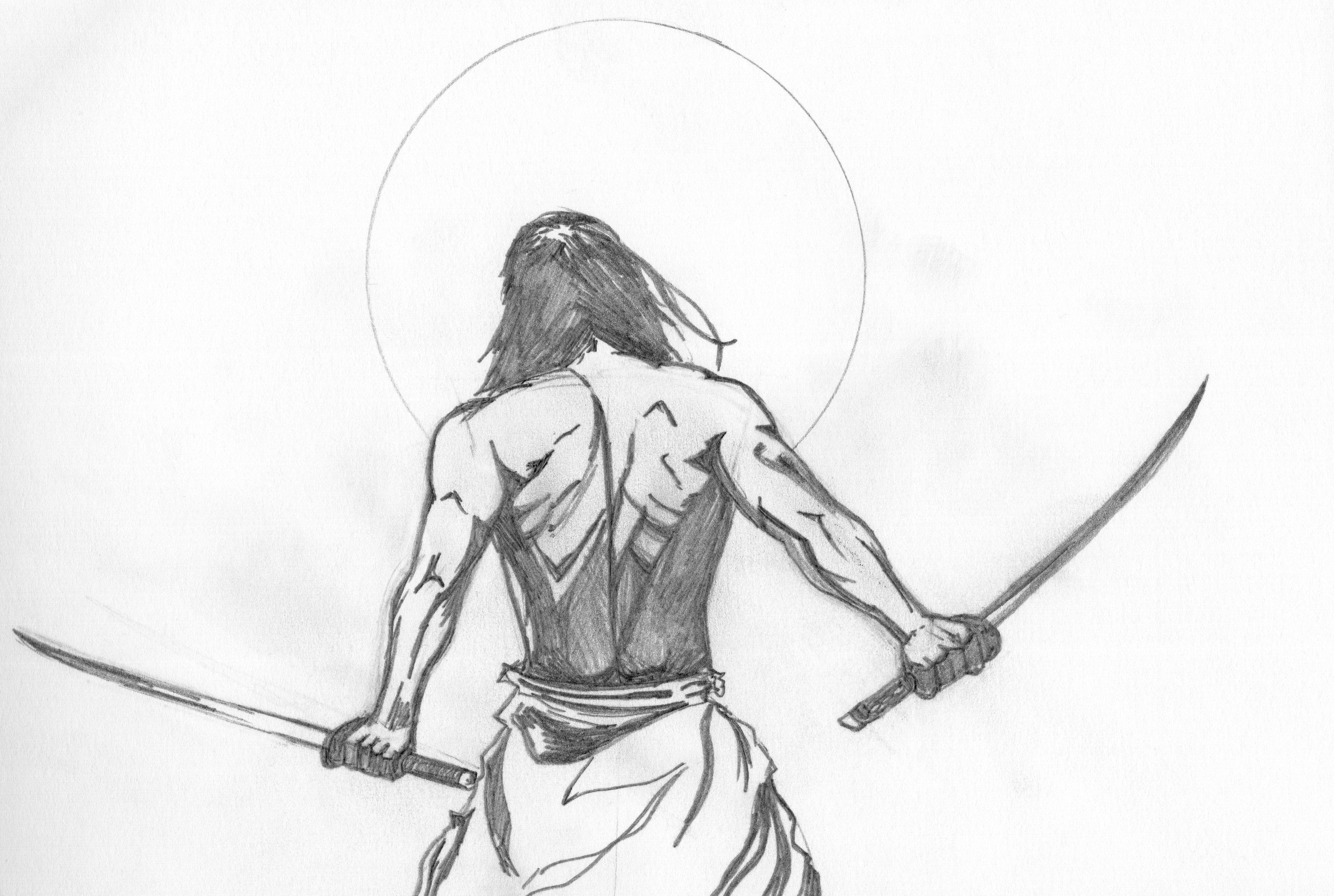 Ninja pencil drawing
