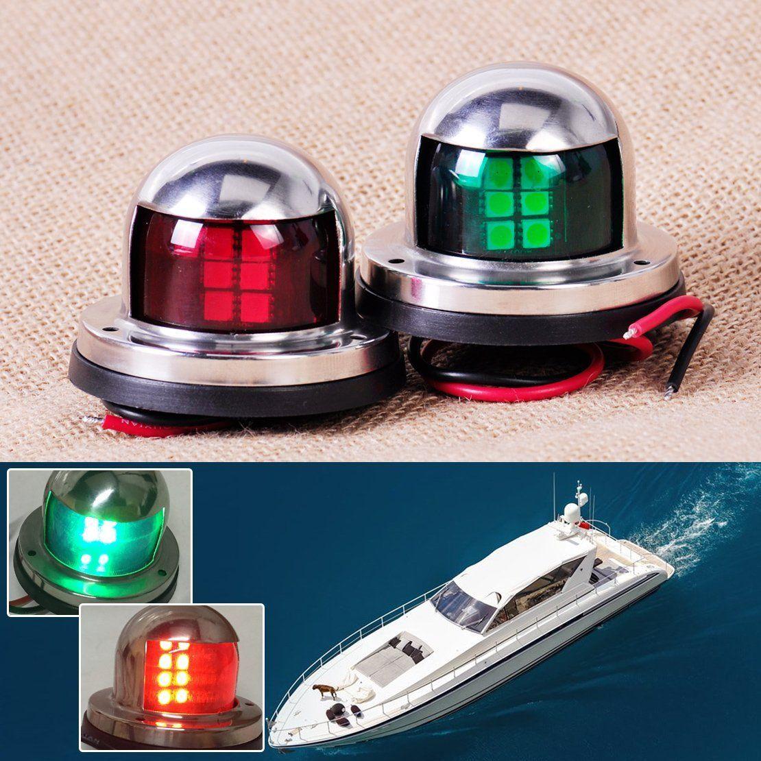 1Pair Marine Bow Light 12V Stainless Steel LED Navigation Side Lights Boat Yacht