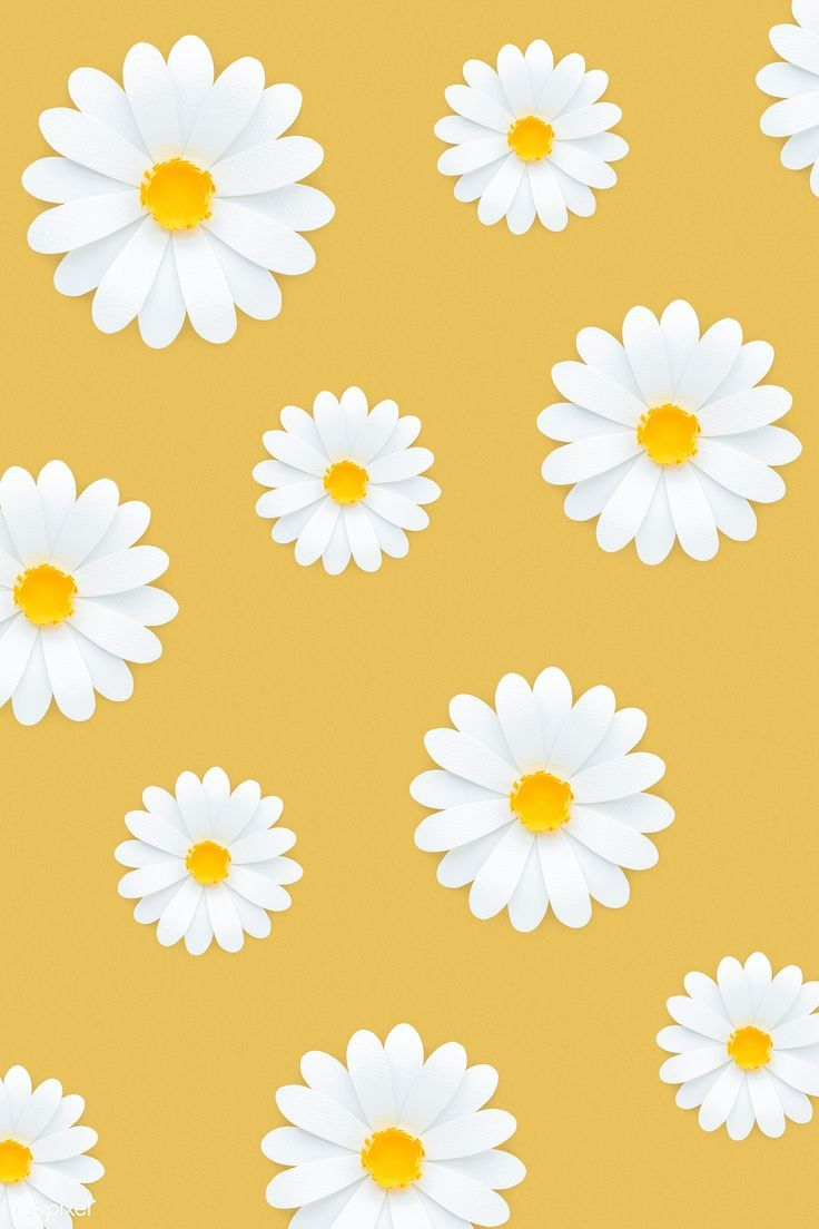 Download premium psd of White daisy pattern on yellow background 1202497