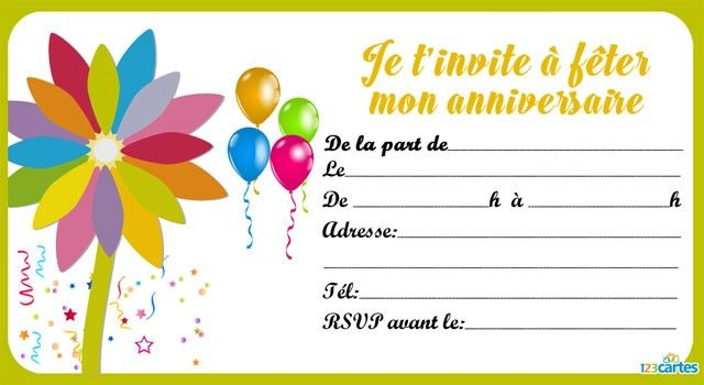 Jeune Invitation anniversaire fleur multicolore - 123 cartes | Carte WN-72