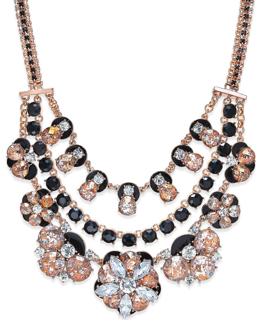 kate spade new york 12k Rose Gold-Plated Triple Layer Floral Necklace