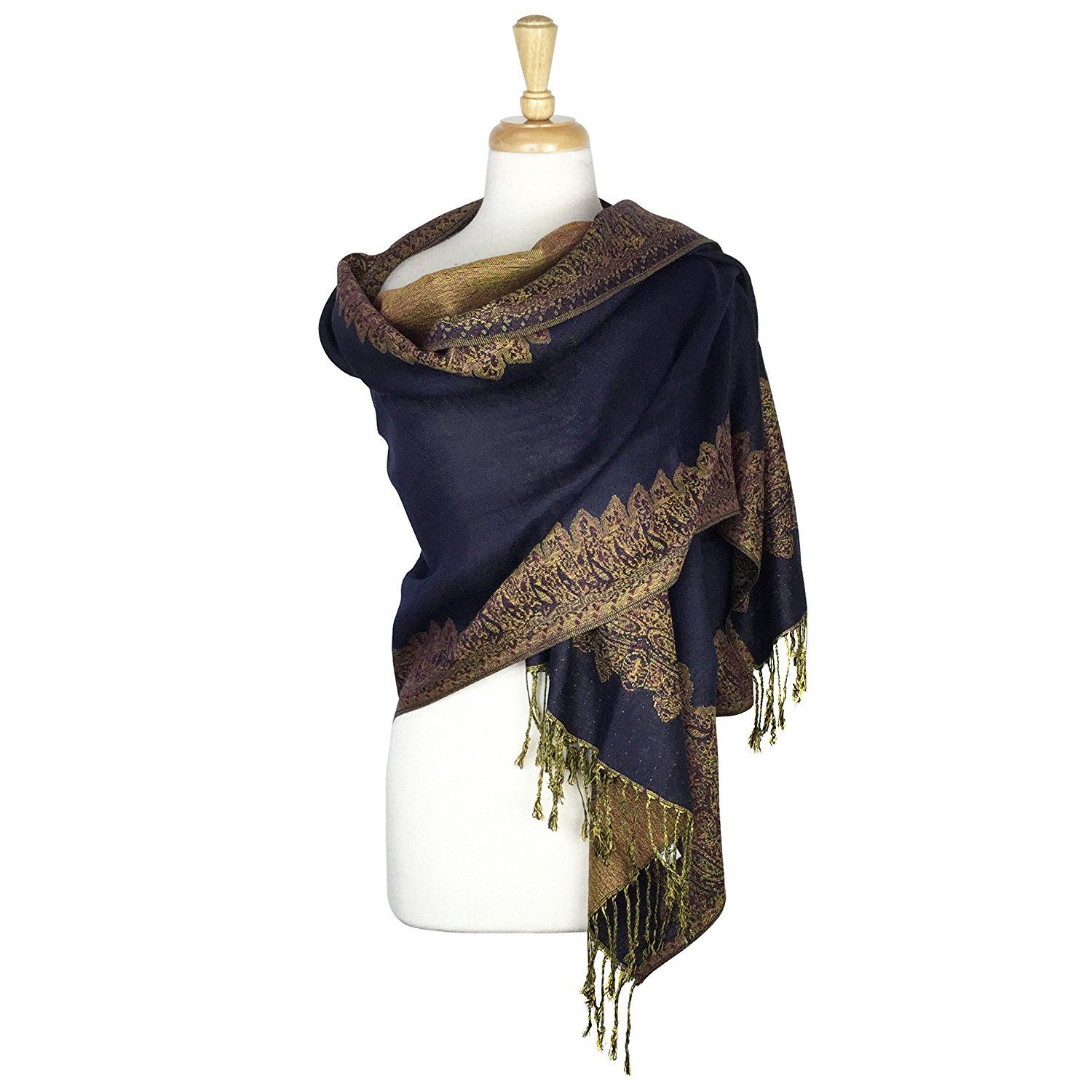 Border Pattern Double Layered Reversible Woven Pashmina Shawl Scarf Wrap Stole