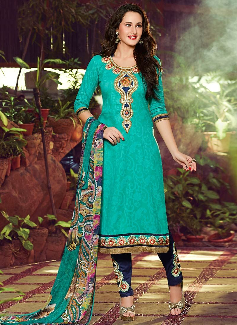Green Blended Cotton Straight Pant Suit   Indian & Fashion ...