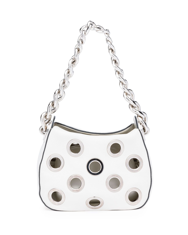 c7f0264ba932 Vitello Daino Small Perforated Chain Hobo Bag, White (Talco), Women's -  Prada