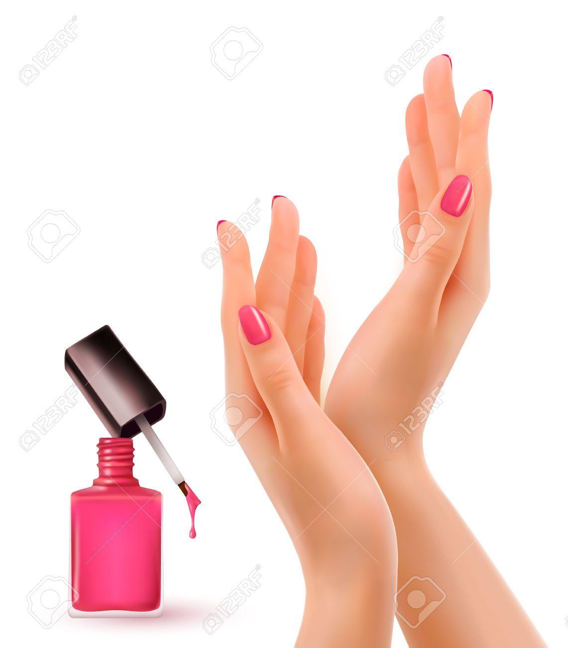 Las Manos Con Las Uñas Pintadas De Color Rosa. Nail Botella De ...