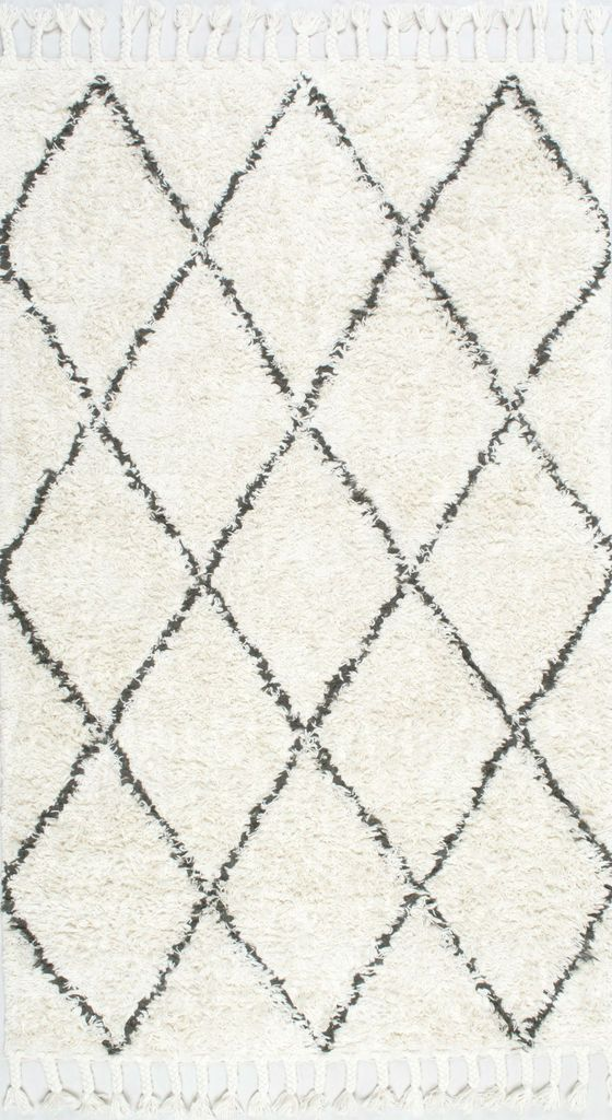 Nuloom Hand Knotted Fez Shag Rug Natural Gray Grey Area Rugs