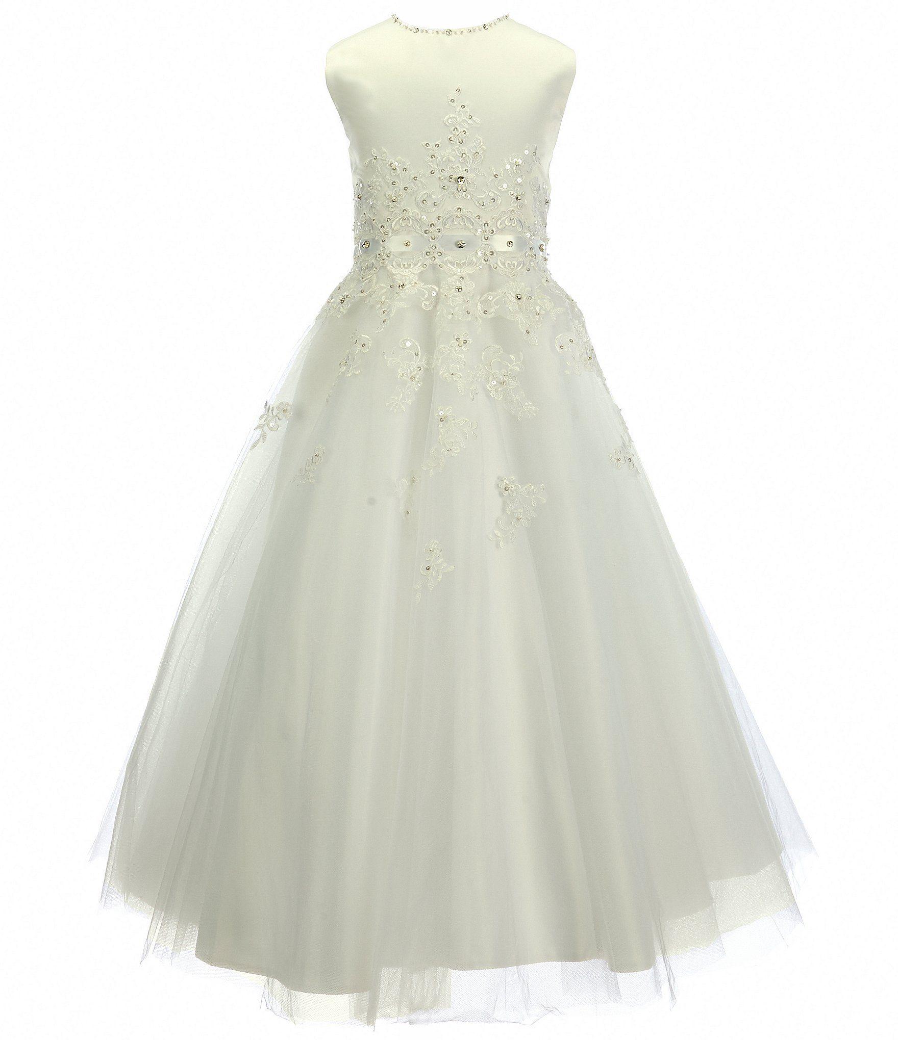 Big girl wedding dresses  Joan Calabrese Big Girls  Beaded Lace Dress  Holy Communion
