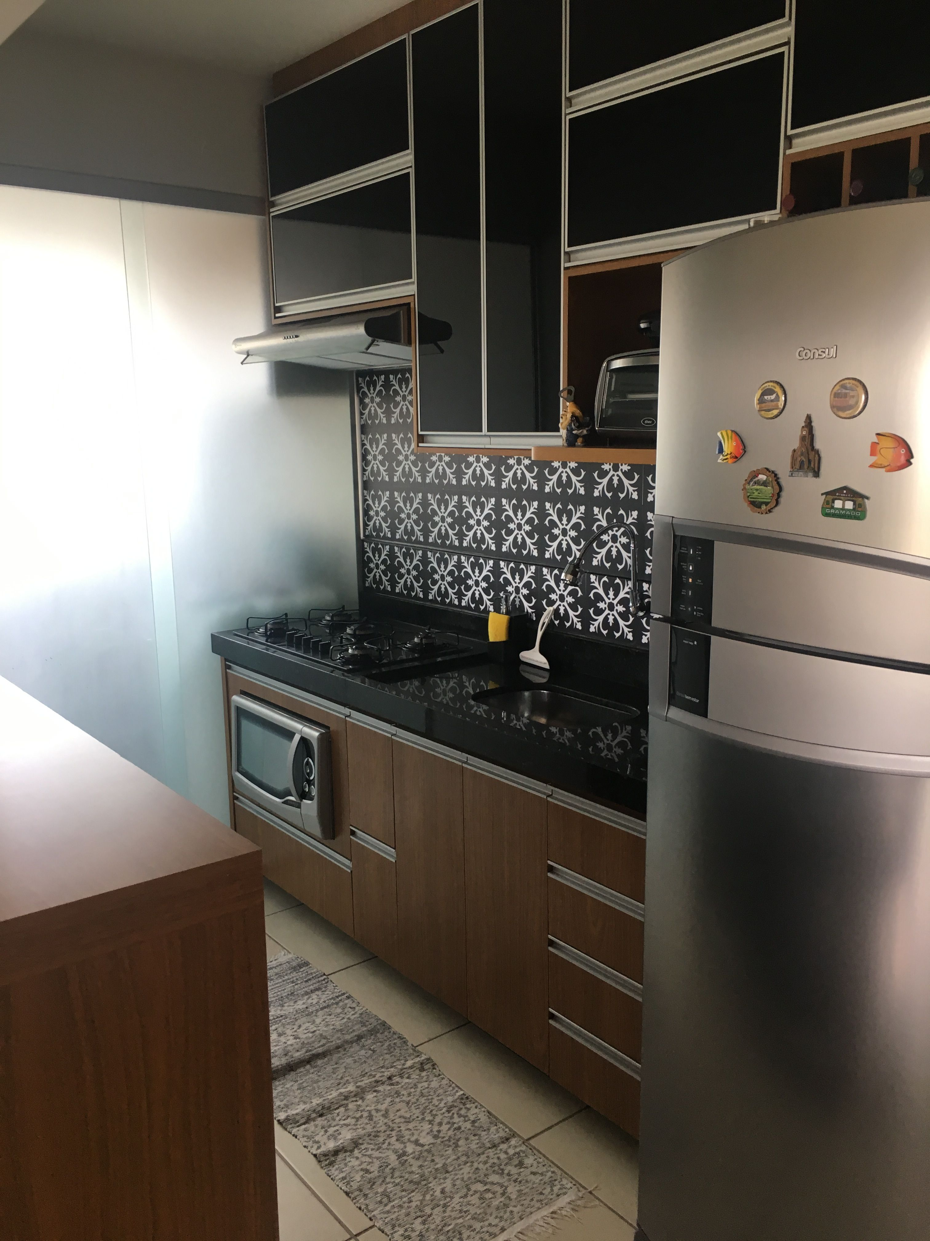 Cozinha Americana Com Azulejos Adesivos Preto E Branco Minha
