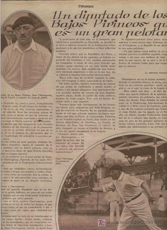 REPORT OF THE DEPUTY JUAN YBARNEGARAY.  PELOTA PLAYER.  NATIONAL FEDERATION OF BASQUE BALL.  - Photo 1