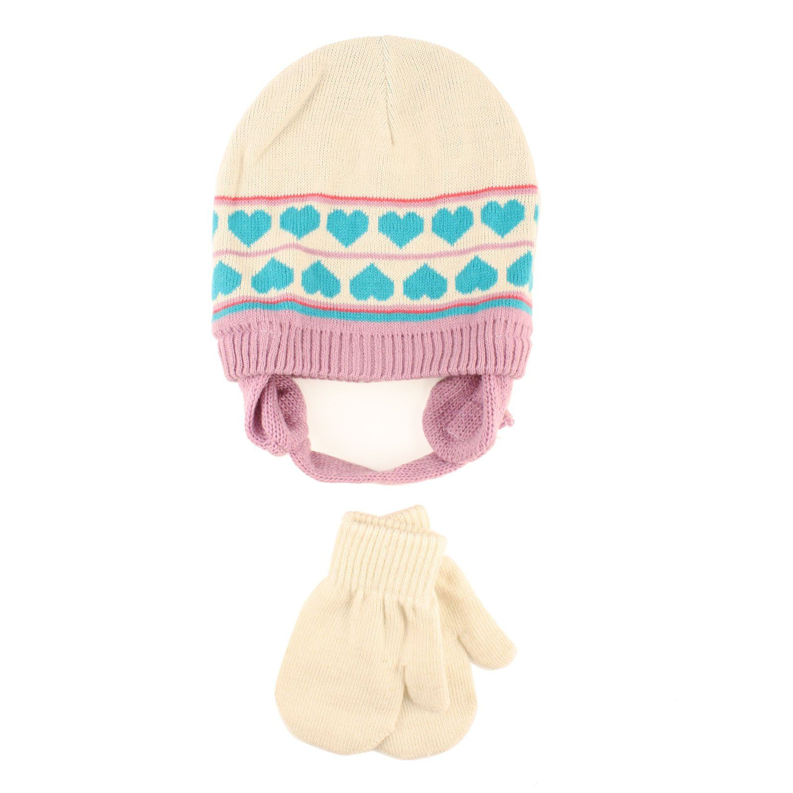 Winter 2pc Girls Age 0-2 Baby Knit Beanie Earflap Hat Mitten Gloves ...