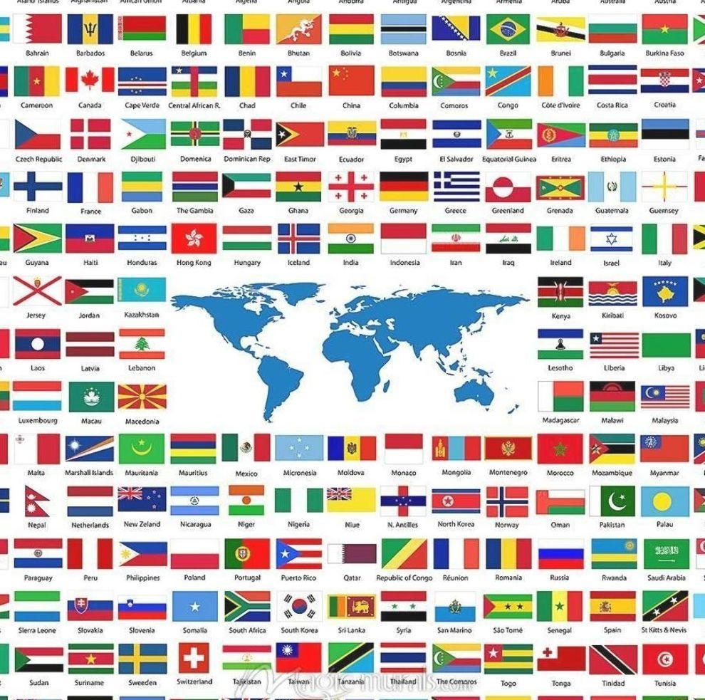 Flags From Around The World Peta Dunia Bendera Peta