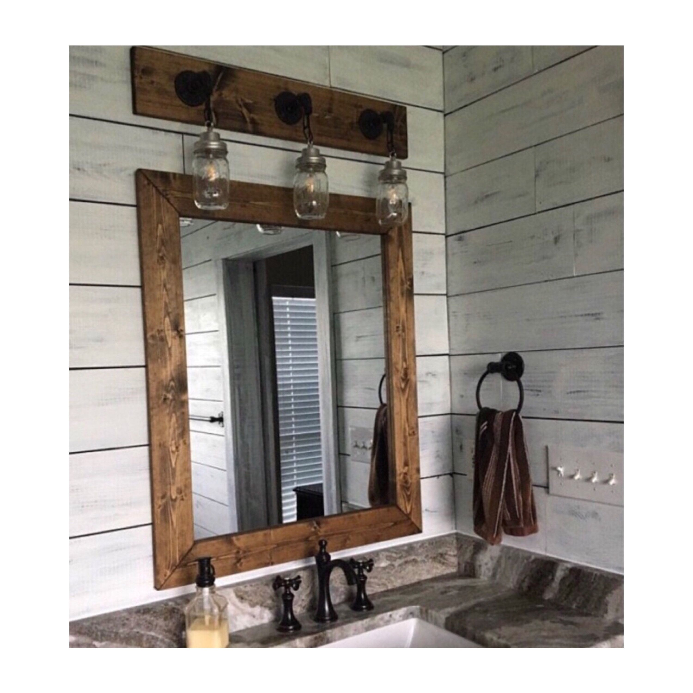 Dark Walnut Wood Framed Mirror Rustic