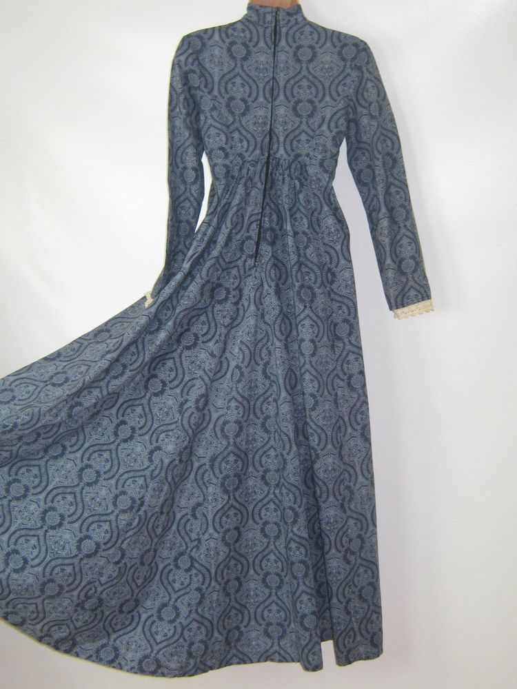 LAURA ASHLEY VINTAGE 70s EMPIRE REGENCY STYLE PERIOD FOLKLORE BOHO DRESS 10 In
