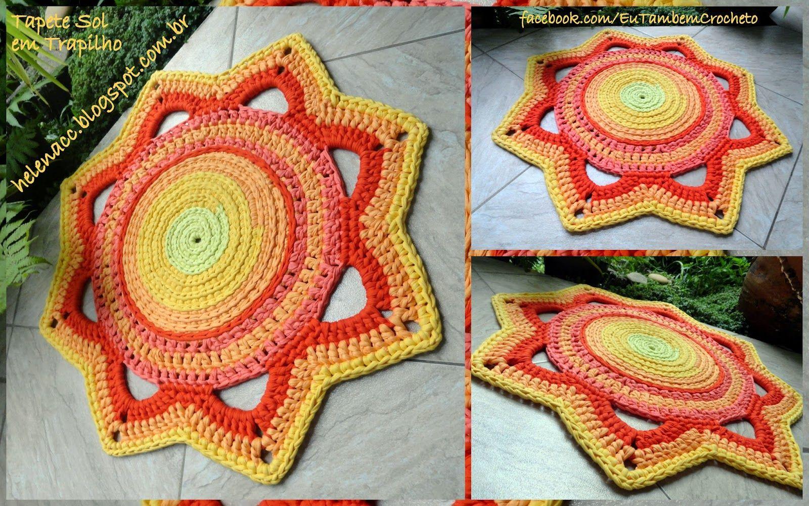 Tapete Sol em Trapilho | gehäkelte Teppiche, Teppich häkeln und Teppiche