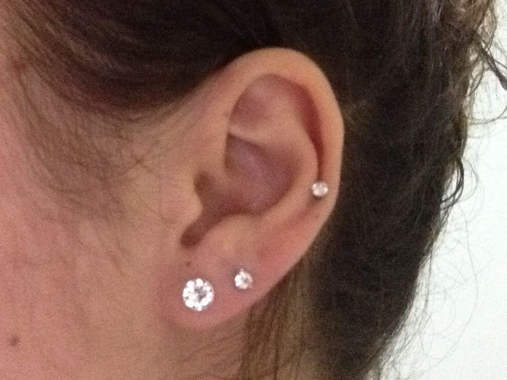 Firsts, seconds and a mid ear piercing. Crystal #secondearpiercing