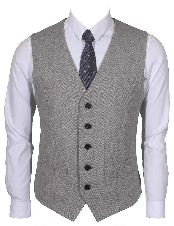 Ruth/&Boaz 2Pockets 5Buttons Wool Herringbone Tweed Business Suit Vest