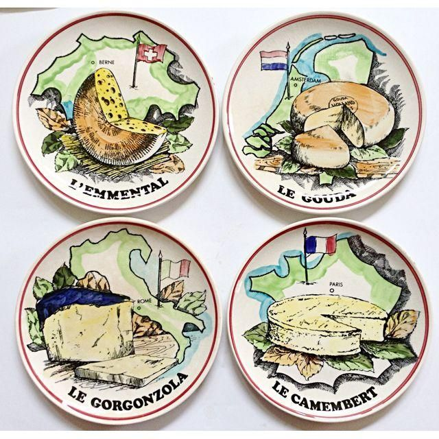 French Cheese Plates - Set of 4  sc 1 st  Pinterest & French Cheese Plates - Set of 4   French French cheese and Products