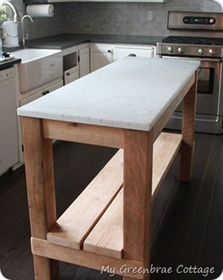 Diy Island With Marble Top Reclaimed Wood Kitchen Looking For Something Like This That I Can Roll Dough On Laura