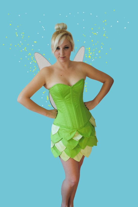Tinkerbell Overbust Steel Boned Corset and by TheCorsetCarriage  sc 1 st  Pinterest & Tinkerbell Inspired Overbust Steel Boned Corset and Skirt Costume ...