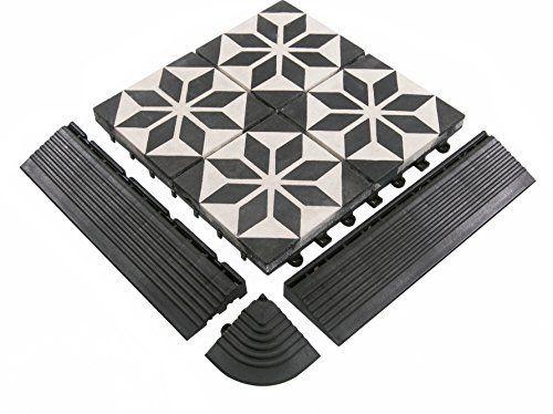 Fußboden Fliesen Schwarz Weiß ~ Bodenmax zement mosaik click bodenfliesen set cm