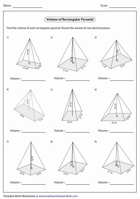 Surface area Of Pyramid Worksheet Best Of Volume