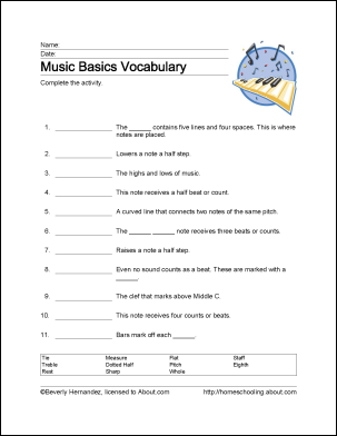 Learn Basic Musical Terms with These 10 Printouts | Music
