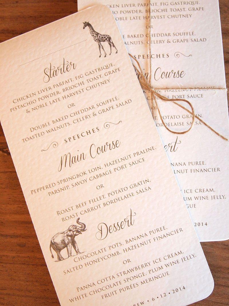 Safari Wedding Invitations Stationery Wedding Reception