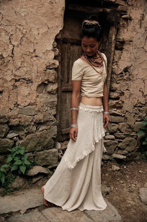 Long Gypsy Boho Off White Wrap skirt Earthy cotton Adjustable