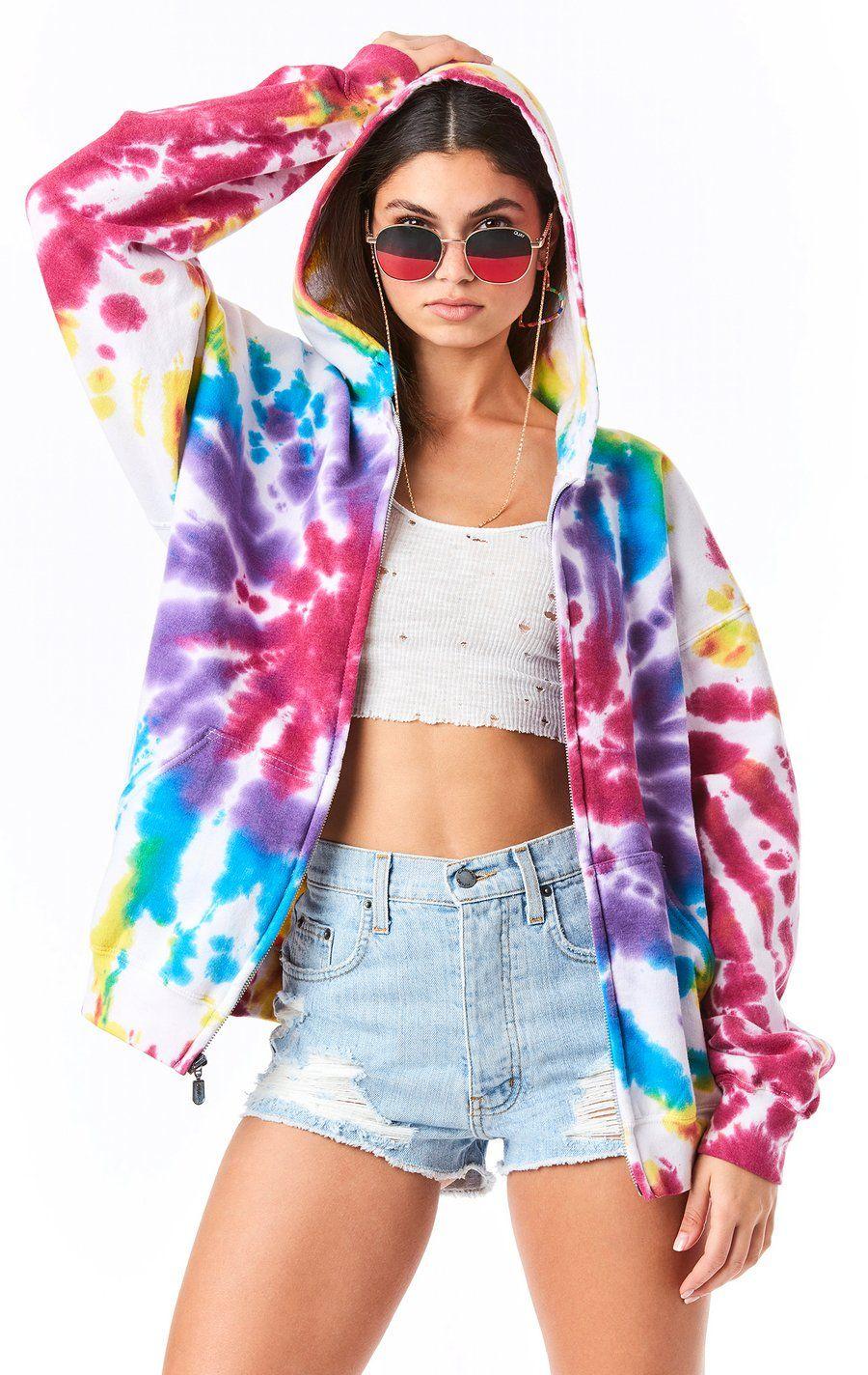 Firework Tie Dye Zip Up Sweatshirt Lf Stores Tie Dye Outfits Tie Dye Fashion Tie Dye Jackets [ 1424 x 900 Pixel ]