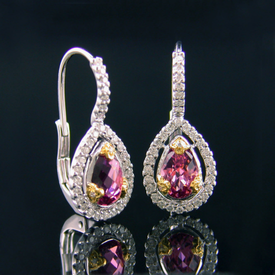 Pink Tourmaline and Diamond Earrings Set in 18 Karat Two-Tone Gold. Designed by Beverley K.