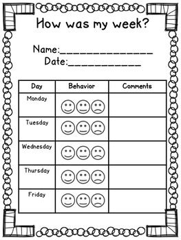 Elementary weekly behavior log also kindergarten chart smiley face rh pinterest