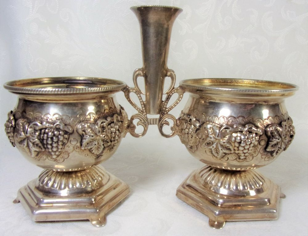 Art Deco Solid Silver Sterling 925 Double Salt Cellar Salt Dipper Grape Leaf 4.2 & Art Deco Solid Silver Sterling 925 Double Salt Cellar Salt Dipper ...