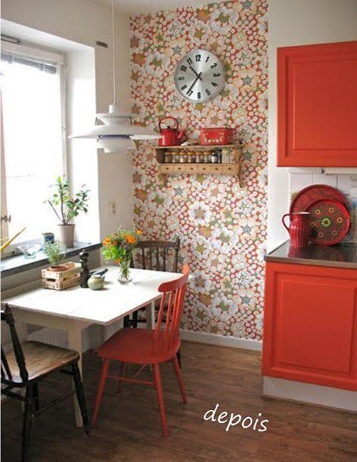 Cocina roja con flores Estar en casa Pinterest Vías