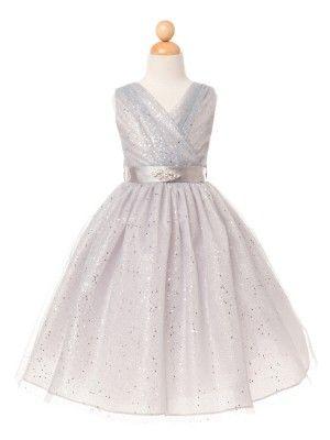 899aca8e5948 Silver Tulle Glitter V-Neck Flower Girl Dress (Available in Sizes 2-12 in 7  Colors)