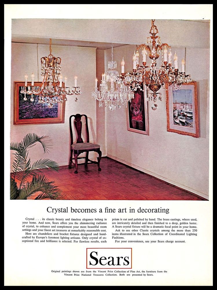 1966 Sears Crystal Chandeliers Vintage Print Ad Lighting