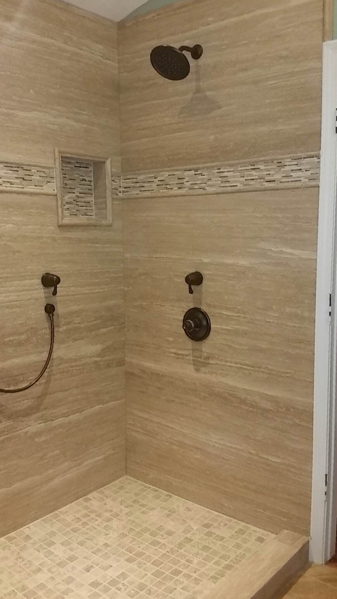 forzastone Walnut Vein Cut Travertine Walk In Shower Natural
