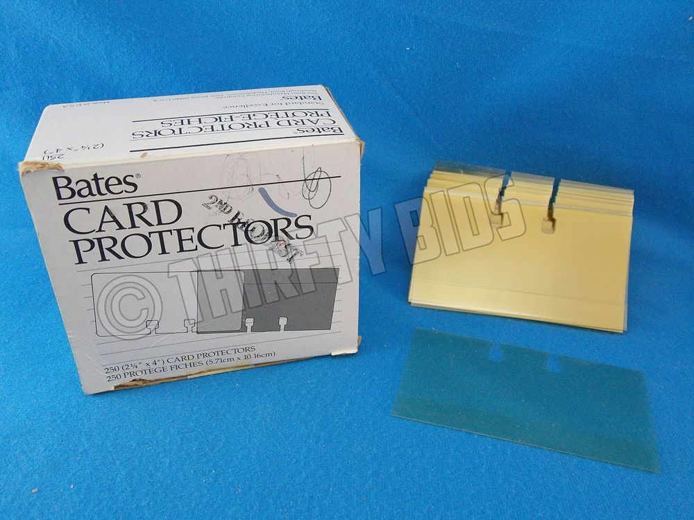 250 Bates Card Protector Sleeves for Business Card File 2 1/4\