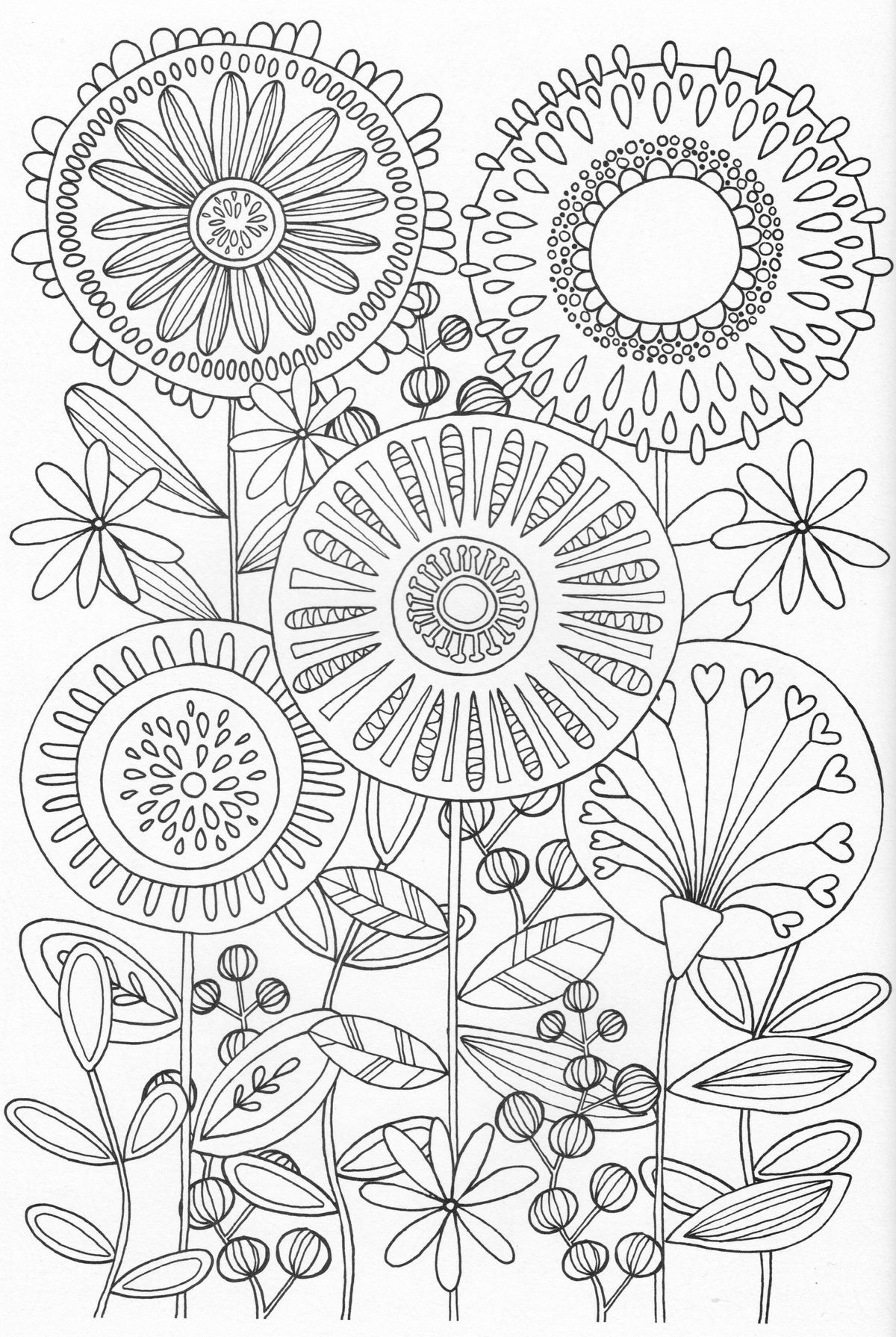 Scandinavian Coloring Book Pg 31 Embroidery Flower
