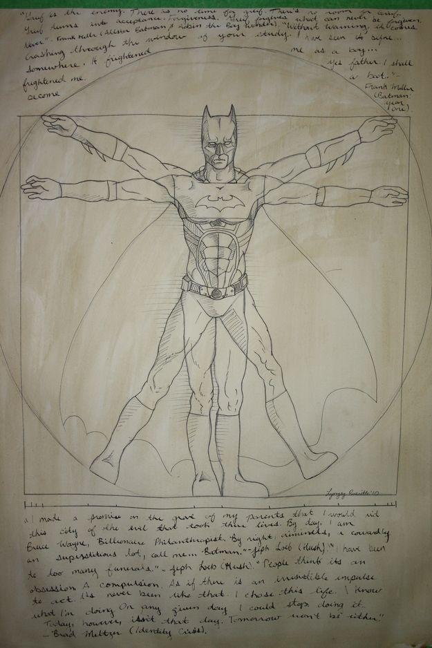 Vitruvian Batman   20 Spectacularly Nerdy ArtJokes