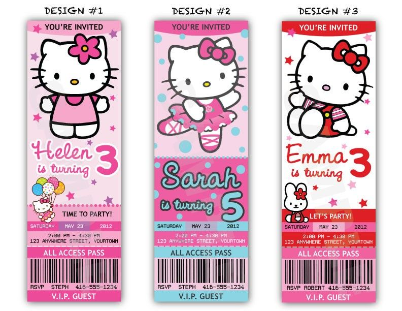 Hello Kitty Birthday Party Ticket Invitations Printable File – Hello Kitty Party Invitations Printable