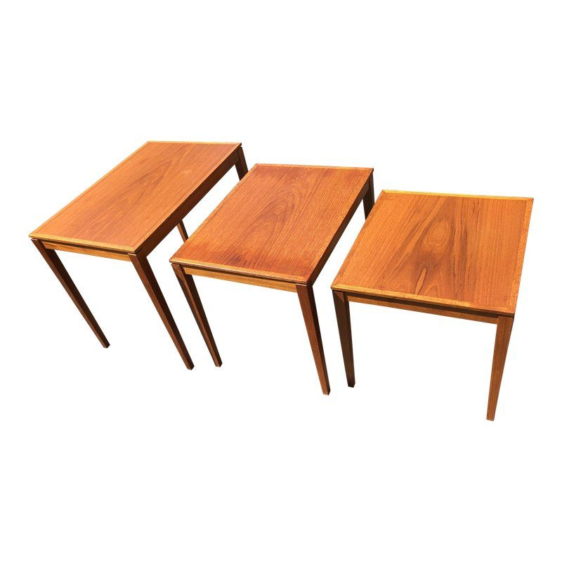 1970s Danish Modern Teak Nesting Tables 3 Pieces Nesting Tables Danish Modern Teak